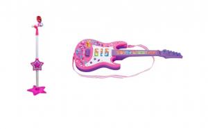 Pachet cadou: Chitara electrica si microfon karaoke fete si baieti