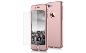 Husa Apple iPhone 7 Plus Flippy Full Cover 360 Auriu + Folie de protectie