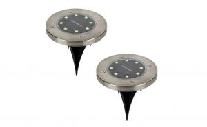 Set 2 Lampi solare cu 8 leduri si senzor de lumina cu fixare in sol