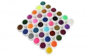 Set 36 geluri colorate cu sclipici, unghii false, manichiura