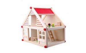 Casuta lemn papusi+4 figurine+mobilier