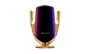 Incarcator Wireless Auto universal,  cu Senzor inteligent, suport SMART Fast Charger 10W, clema prindere ventilatie Auriu Gold
