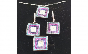 Set bijuterii din Argint cu Zirconii Colorate pave