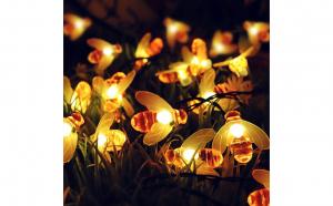 Instalatie Solara cu Albinute 3M Cu 30 LED-uri, Lumina Calda, De Exterior