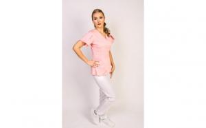 Costum medical dama, anchior roz-alb
