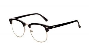 Ochelari - Rame cu lentile transparente Retro, Negre - Argintiu