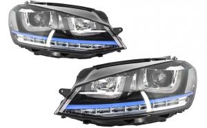 Set 2 faruri 3D LED compatibil cu VW Golf 7 VII (2012-2017) GTE Design Semnal LED RHD