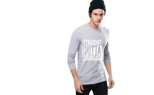 Bluza barbati gri cu text alb -