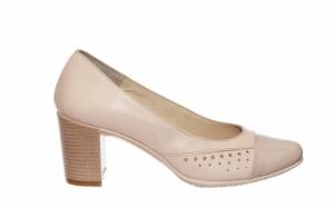 Pantofi bej, din piele naturala, eleganti, comozi, potriviti si pentru doamne cu piciorul lat