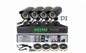 Sistem supraveghere CCTV kit DVR 4 camere exterior/interior, pachet complet, HDMI, internet, vizionare pe smartphone