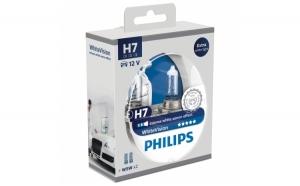 Set 2 Becuri auto cu halogen pentru far Philips H7 White Vision, 12V, 55W
