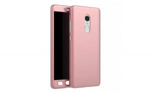 Husa Full Cover 360 + folie sticla pentru Xiaomi Redmi Note 4, Rose Gold