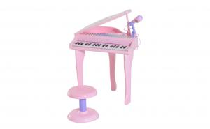 Pian jucarie pentru copii cu microfon si scaunel, roz