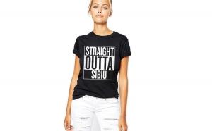 Tricou dama negru - Straight Outta Sibiu