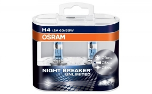 Set 2 Becuri auto pentru far Osram H4 Night Breaker Unlimited, up to 110%, 12V, 55W