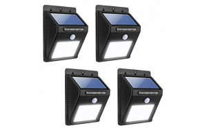 Set 4 lampi solare cu senzor de miscare, 20 LED-uri