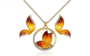Set bijuterii Elegant Butterfly placat cu aur galben 18K