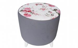 Taburet PUF Gri - Model Floral