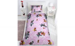 Set lenjerie pentru bebelusi cu aparatori laterale  Tom  Jerry  bumbac 100%