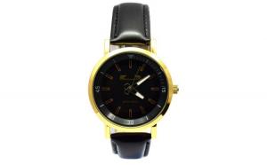 Ceas barbatesc MATTEO FERARI elegant, design italian, negru, cadran auriu + cutie