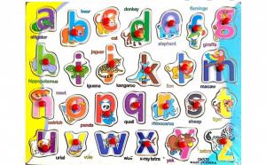 Puzzle din lemn tip incastru Alfabet