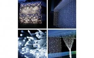 Instalatie 340 LED, ploaie de lumini, 5 x 1m, diverse culori