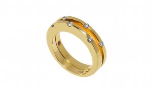 Inel din aur galben 18K, Roberto Coin, rubin si diamante naturale, circumferinta - 52 mm, IAU231