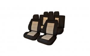 Huse scaune auto compatibile BMW Seria 1 E87 2004-2013 PLUX (Negru + Bej)