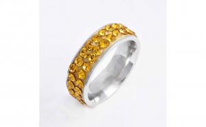 Inel titan Yellow Crystal marime 7US
