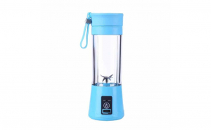 Blender smoothie maker cu USB, 400ml, Albastru