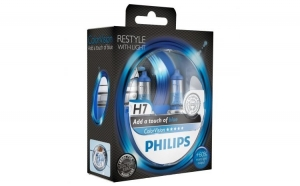 Set 2 Becuri auto far halogen Philips H7 Color Vision Blue, 12V, 55W