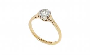 Inel, model de logodna, aur 9K si platina, cu diamant 0.25 ct, circumferinta - 47 mm