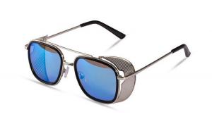 Ochelari de soare Rotunzi Steampunk Cage Albastru cu Argintiu