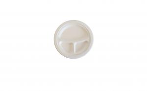 Farfurii biodegradabile din trestie de zahar, 3 compartimente, 23 cm, set 50 buc