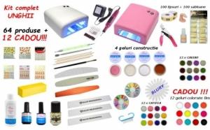 Kit complet aplicare unghii cu gel 64 produse + 12 geluri colorate CADOU