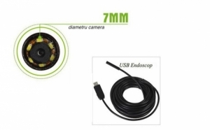 Camera endoscop foto/ video, diametru 7mm, cablu de 7 m, waterproof