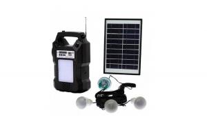 Pachet Solar Cu Lanterna, Radio FM, MP3, USB, Slot MicroSD, 3 Becuri, Telecomanda