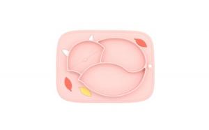 Farfurie invatare din silicon, suctiune, 3 compartimente, pentru copii, forma pisica, roz pal