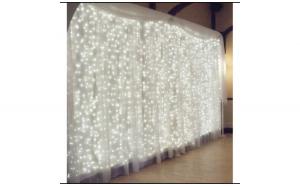 Instalatie de Craciun 3 m x 3 m, Perdea alba rece, 300 leduri, perdea luminoasa