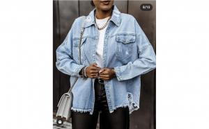 Jacheta tip camasa din denim albastru