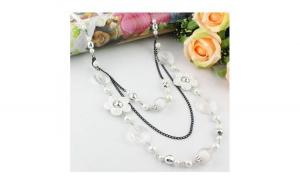Colier fantezie alb cu floricele