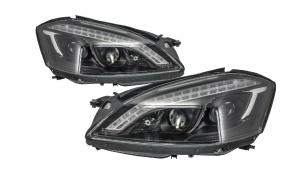 Set 2 faruri HID Xenon LED DRL compatibil cu Mercedes Benz W221 S-Class (2005-2009) W222 Look Negre