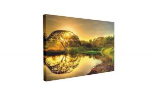Tablou Canvas Apus Romantic pe Lac, 40 x 60 cm, 100% Poliester