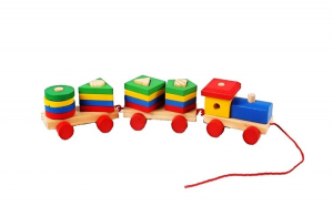 Trenulet din lemn cu forme geometrice de