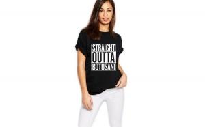 Tricou dama negru - Straight Outta Botosani