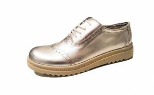Pantofi argintii, din piele naturala, cu talpa ortopedica - usori, comozi, cu design modern