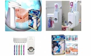 Dozator de sapun cu senzori + Dozator pasta de dinti + Cadou suport de perete pentru 5 periute