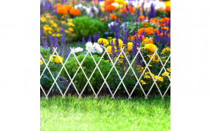 Bordura pentru pat de flori / gard - extensibil, 150 x 50 cm - alb