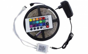 Banda RGB 5M LED, cu telecomanda si joc de lumini