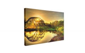 Tablou Canvas Apus Romantic pe Lac, 70 x 100 cm, 100% Bumbac